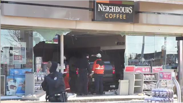 Truck crashes through store in north Edmonton: four hospitalized