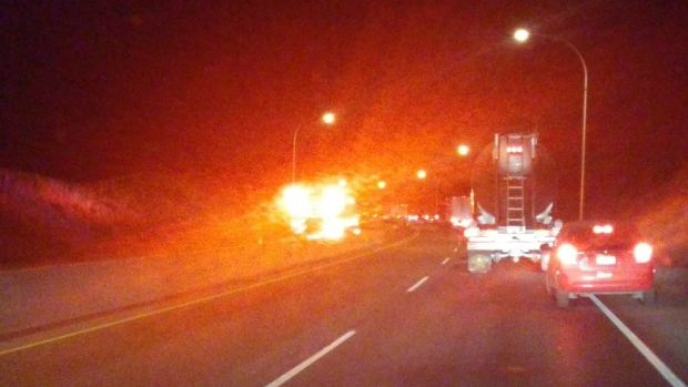 Trans-Canada Highway reopened in Kamloops after truck fire injures 2